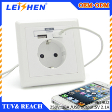 2015 Guangzhou manufacturer wholesales new design smart usb wall plug sockets for poland/holland/luxembourg market