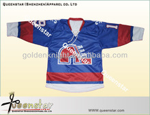 custom sublimation ice hockey jersey with polyester and lace up the neck