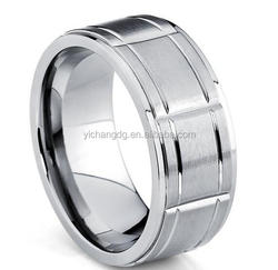 9MM Men's Grooved Titanium Wedding Band Ring, Comfort Fit Sizes 8 to 13