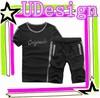 Jogging suit black boys casual suit high quality t shirts