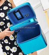 Large capacity double layer leather cosmetic box cosmetic bag cosmetic beauty box jewelry box women's handbag bags