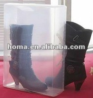 HOMA-Transparent Women lady Stackable Crystal Clear Plastic Shoe Storage Boxes case organizer for short boot