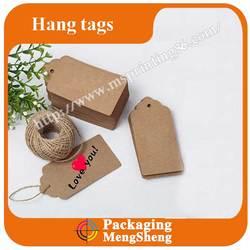 brown die cutting kraft paper tag with twines