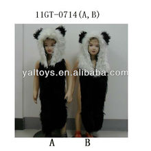 Long faux fur animal hats for kids and adults ,faux fur panda hat hood
