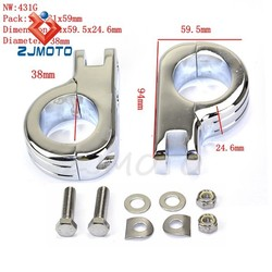 "ZJMOTO Motorcycle Chromed Foot Rest Footpeg P-Clamp Mounting Kits for 1 1/2"" Highway Bars Engine Guard Footpeg Clamps Mounting K"