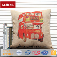 Hot Sale Creative Bus Pattern Printing Design Cushion,Home Decor Pillow Case,Sofa Vintage Decorative Pillow