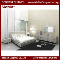 Vintage Bedroom Furniture Design Modern Grey Wooden Double Bed And Bedroom Furniture SET