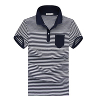 Pique fabric Polo Shirt with fancy white navy blue horizontal stripes wholesale manufacturer