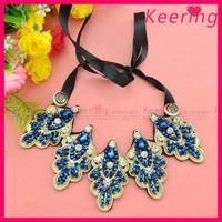 retro fashion ladies dark blue beaded collar choker necklace wholesale WNL-1385