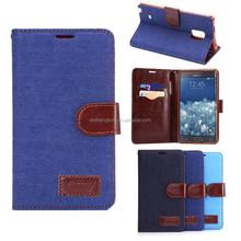 Wholesale bulk phone cases jeans leather case flip case for samsung note edge