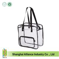 Clear Oversized Tote PVC Vinyl Plastic Large Shopper Shoulder Bag Transparent with front clear zipper pocket
