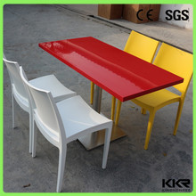 Marble white solid surface marble table top and base, dinning tables and chair
