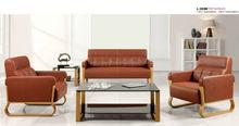 Simple Office Reception Sofa Set Steel Frame Leather Furniture L-203M