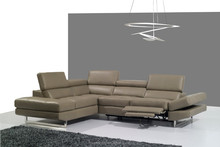 JR9018 alibaba hot sale Modern Italy grey full genuine cow leather recliner sofa set living room soft corner sofa couch set