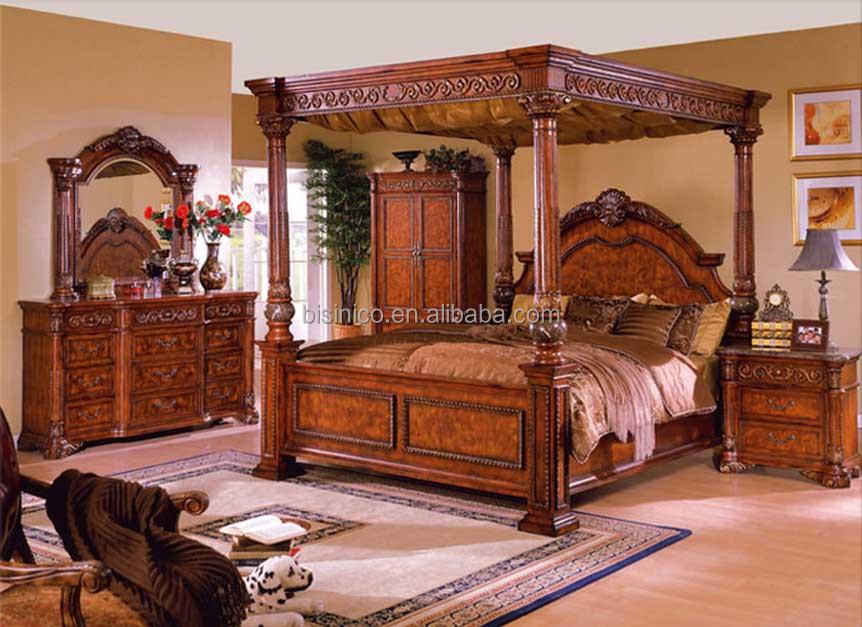 Bisini meubles de luxe antique meubles de chambre coucher king size lit double cadre Set de chambre king noir