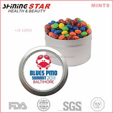JS-12053 colorful breath fresh 50pcs sweet peppermints in window tin for promotional activity