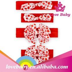 2015 latest boutique red handle heart bowknot infant Saint Valentine's Day wholesale headbands