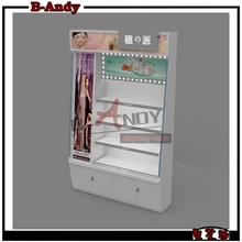 new style white Cosmetic Shop Display Furniture with LED light