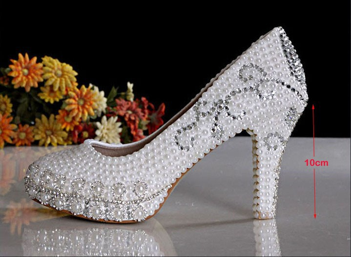 2016 New Style 10cm Heel  Luxury ShoesPretty Wedding Shoes Imitation Pearl White Bridal Dress Shoes Party Prom Dress Shoes
