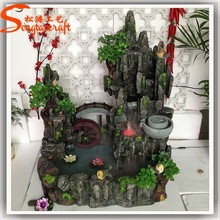 made in china factory wholesale mini led fountain light indoor artificial fiberglass mini water fountain with pump