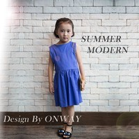 COOL KID ZONE 2016 sleeveless modern cotton linen breathable blue children girl summer dress