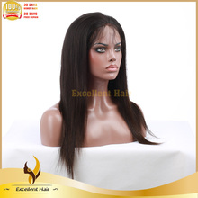 silk straight black remy human hair brazilian front lace wig with bangs