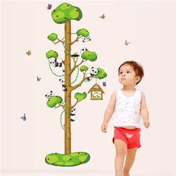 Removeable PVC wall sticker children height wall paper cartoon tree and pandas home decor for nursery room(ZYPB7261)