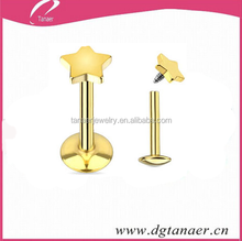 16G Gold IP Over 316L Surgical Steel Star Flat Top Internally Threaded Labret