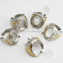 2015 hot selling Indonesia rings for gemstones titanium stainless steel ring setting for gemstones