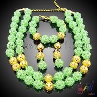 Fashion pave crystal beads necklace wedding design jewelry set latest market design bead jewelry wholesale