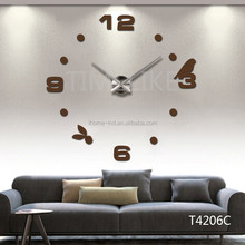 Copper Color Bird Wall Clock DIY 3D Acrylic Mirror Wall Clock For Home/Office Decoration