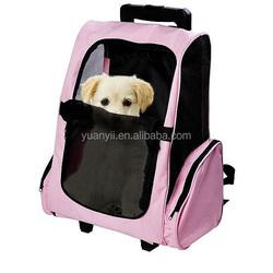 Pet backpack carrier for dog cat/pink pet carrier/dog carrier on wheels