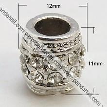 Alloy Middle East Rhinestone Beads, Platinum, Drum(RB-E119-ME70P)