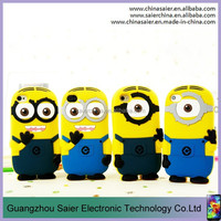 wholesale loverly cartoon minion silicone 3d phone case for iphone 6 plus case