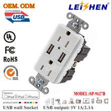 USA 2 Pins USB wall socket, 2.1A USB USA standard socket no need to install
