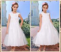 Factory direct-selling crystal ivory long princess dress for girls /kids princess dress