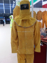 High quality safety cowhide split leather welding jacket and safety leather welding wear for welder