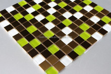 23x23 green golden and white glass mix stainless steel mosaic colorful tile