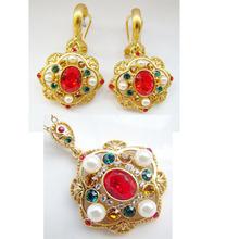 piedras de colores oro conjunto de joyas plateado perla con cristal joyería conjunto aceptado por paypal