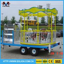Mini theme park amusement rides trailer carousel for sale