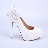 2015 glitter wedding high heel shoes white peal platform shoes women bridal shoes with white flower