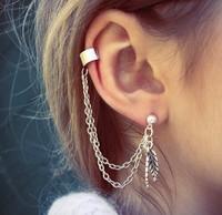 New luxury European Punk alloy leaves ear clip earring woman fashion silver drop ear cuff earrings tassel dangle earrings