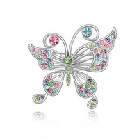 BH008 Free shipping Butterfly And Flower Design Rhinestone Brooch Bouquet Wholesale For Wedding Vintage Crystal Brooch