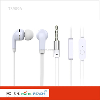 Fashionable mp3 in ear earphone with flat cable stereo OEM earphone from China factory