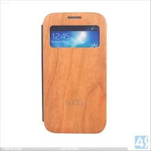 Luxury Wood PU Leather cover for Samsung Galaxy S4 I9500 stand book style