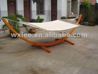 Wooden Arc Hammock Stand + Quilted Fiesta Color Double Hammock Bed, Double Padded. Teak Finish. 2 Person Bed.