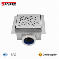 Chrome plated square plumbing floor drain