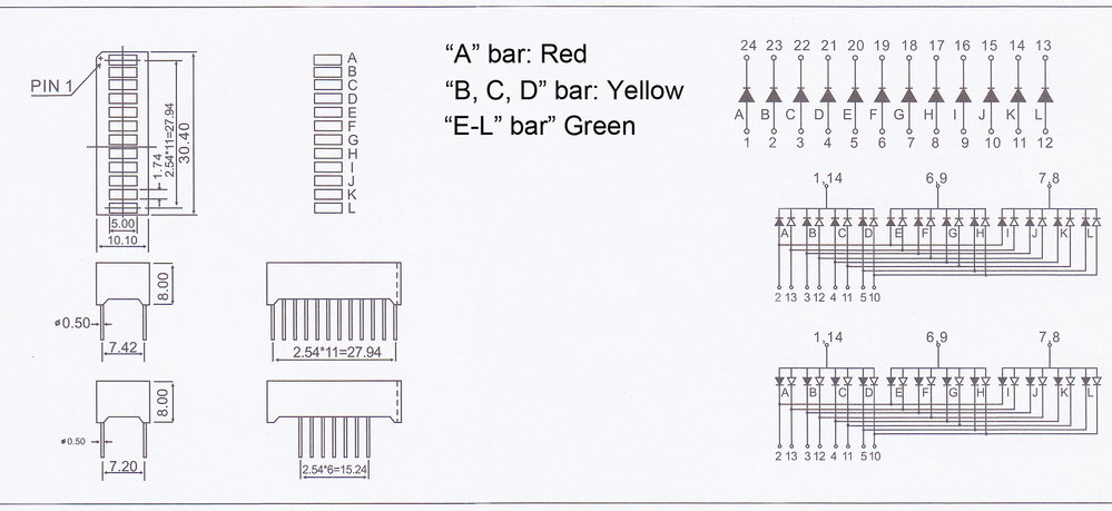 Bargraph led 12 segments led display 3 colors