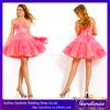 Hot Selling Custom Made Pink A-line Sweetheart Sleeveless Appliques Beaded Puffy Chiffon Mini European Cocktail Dresses (CD067)