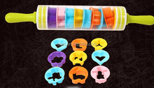 Plastic Rolling Pin With Cookie Cutters